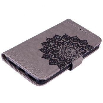 Bling Bling Style Datura Flower Pattern Flip PU Leather Wallet Case for Xiaomi Redmi Note 4 - GRAY