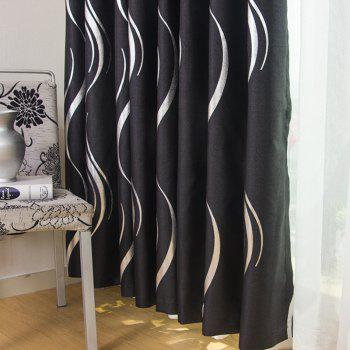 European Style Simple Embossed Hot Silver Process Living Room Bedroom Restaurant Curtains Grommet - BLACK 2 X (42W×63L)