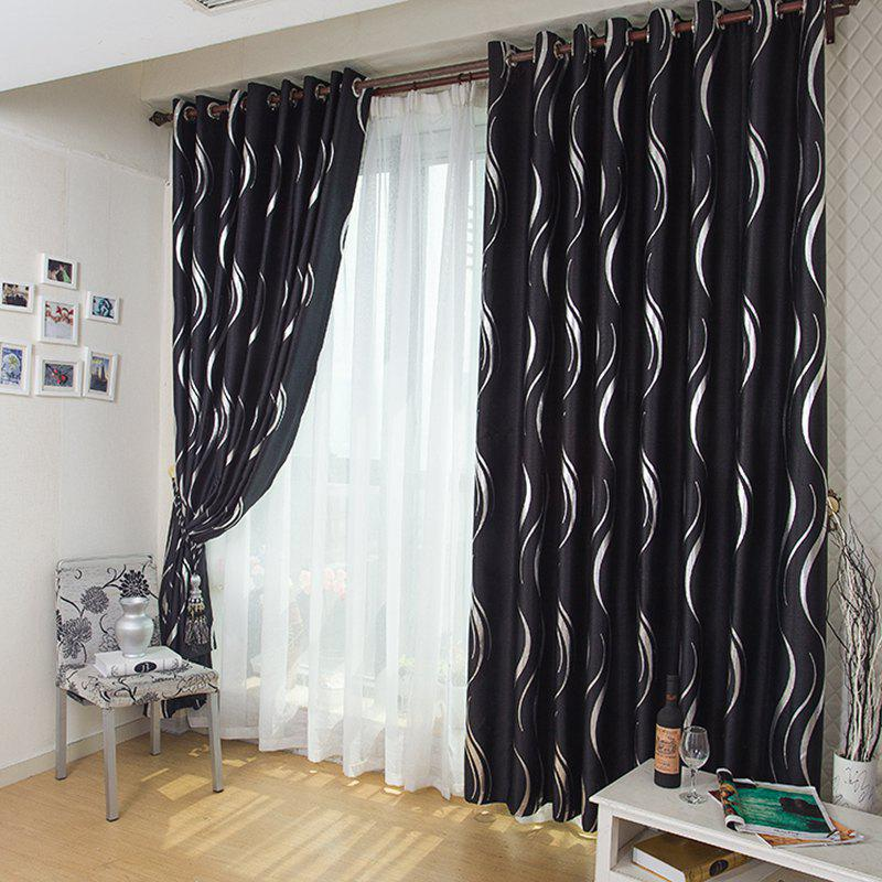 European Style Simple Embossed Hot Silver Process Living Room Bedroom Restaurant Curtains Grommet - BLACK 2 X (42W×96L)