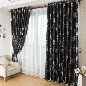 European Style Embossed Hot Silver Process Living Room Bedroom Curtains - BLACK 2X(57W×84L)