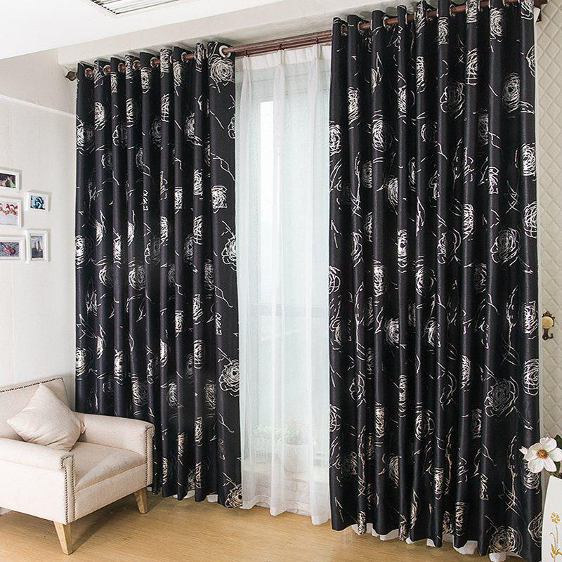 European Style Embossed Hot Silver Process Living Room Bedroom Curtains - BLACK 2X(42W×63L)