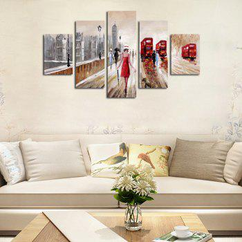 QiaoJiaoHuanYuan No Frame Canvas People Road Decoration Print 5PCS - COLORMIX 30 X 42 ( 2PCS ) + 30 X 70 ( 2PCS ) + 30 X 9