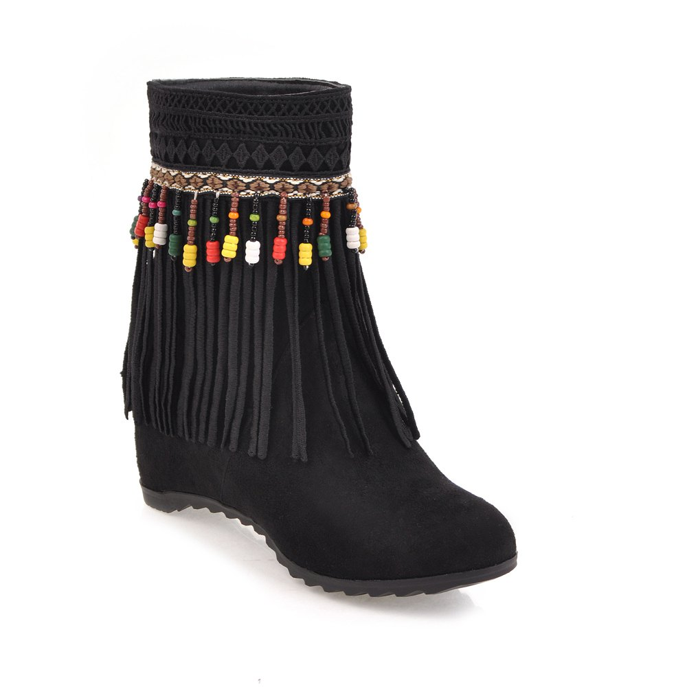 Women's Martin Boots Tassel Retro Style Fashion Solid Color Shoes - BLACK 34