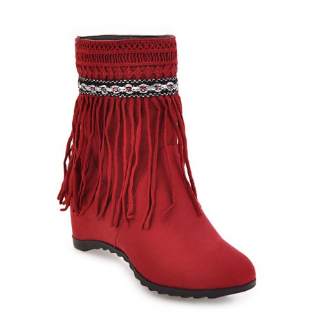 e83064c88a089f 2019 Women s Ankle Boots Elegant Solid Color Tassel All-match Shoes ...