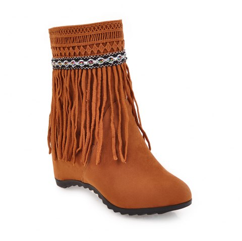 Women's Ankle Boots Elegant Solid Color Tassel All-match Shoes - YELLOW 34