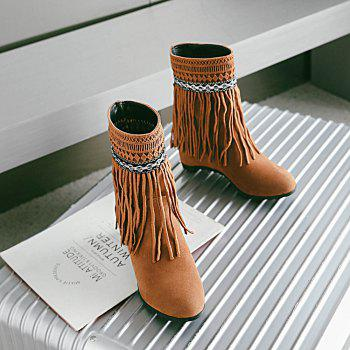 Women's Ankle Boots Elegant Solid Color Tassel All-match Shoes - YELLOW YELLOW