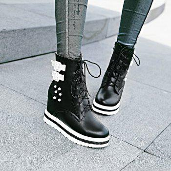 Women's Chic Thick Heel Platform Side Zipper Buckle Ankle Boots - BLACK BLACK