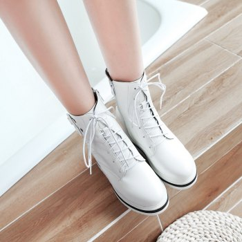 Women's Chic Thick Heel Platform Side Zipper Buckle Ankle Boots - WHITE WHITE
