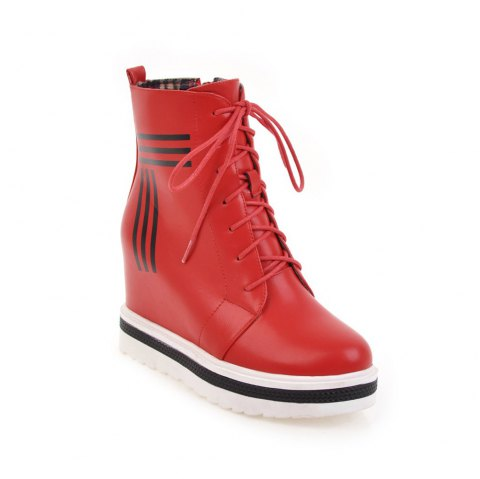 Women's Martin Boots Faddish Lacing Inside High Heel Shoes - RED 34