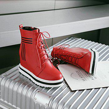 Women's Martin Boots Faddish Lacing Inside High Heel Shoes - RED RED