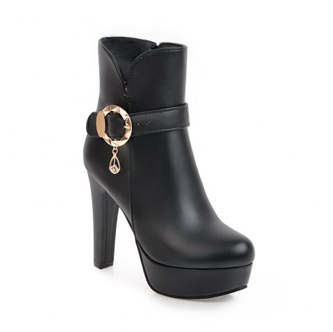 Women's Chic Sweet Solid Color Buckle High Heel Platform Ankle Boots - BLACK 34