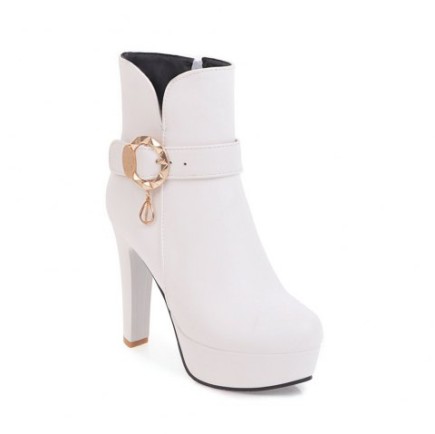 Women's Chic Sweet Solid Color Buckle High Heel Platform Ankle Boots - WHITE 34