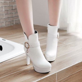 Women's Chic Sweet Solid Color Buckle High Heel Platform Ankle Boots - WHITE WHITE