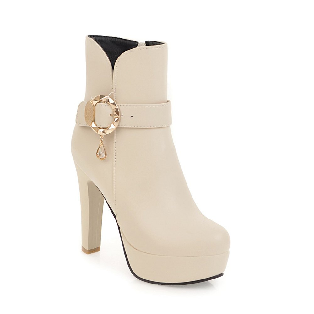 Women's Chic Sweet Solid Color Buckle High Heel Platform Ankle Boots - BEIGE 34