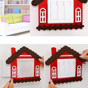 Cartoon Lovely Design Hollow Felt Home Switch Sticker - RED
