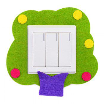 Cartoon Lovely Design Hollow Felt Home Switch Sticker -  GREEN
