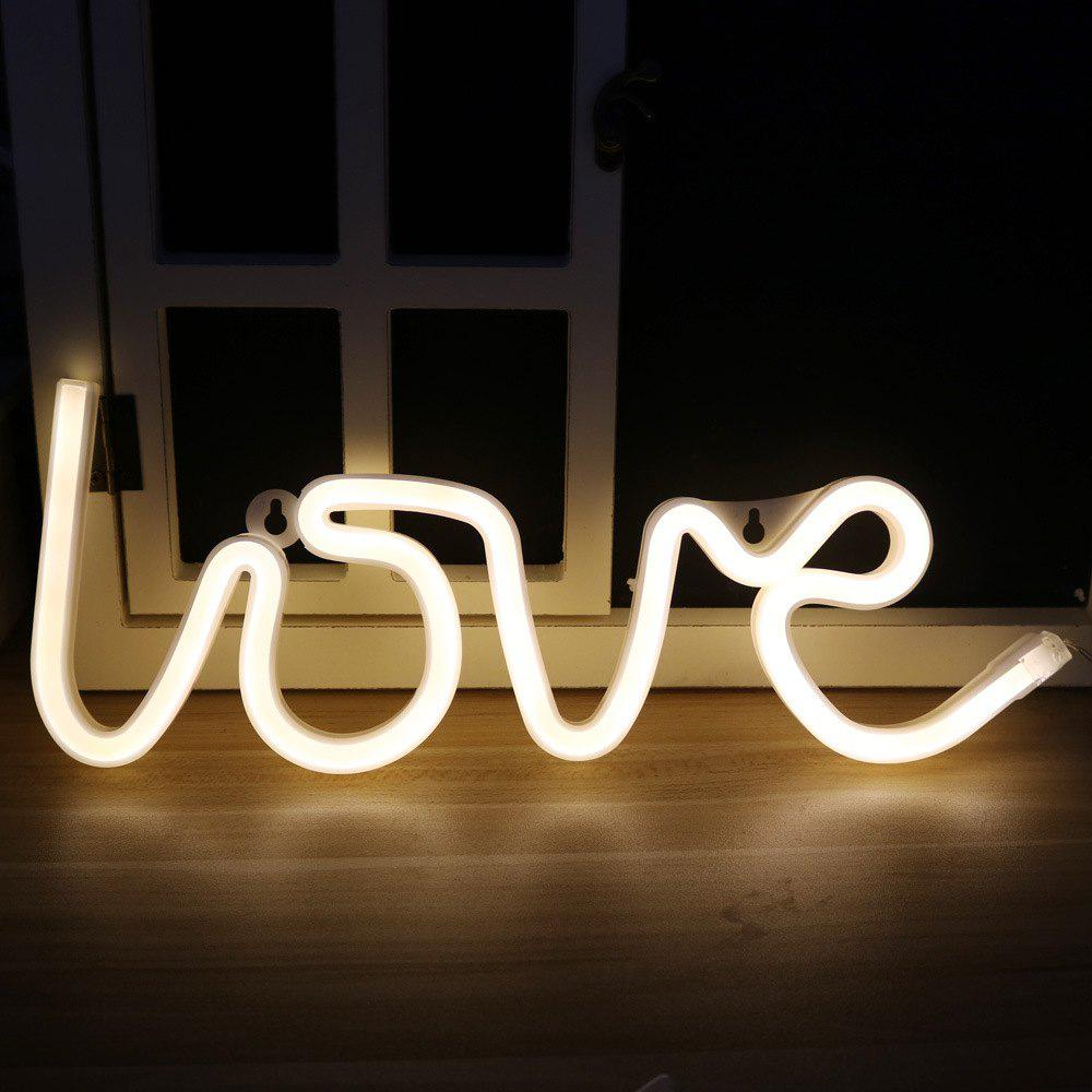 Neon Night Light Love Shaped LED Lamp for Baby Bedroom Decoration Wedding Party Decor new arrival colorful neon led bulbs melbourne shuffle dance costume night lamp el wire bright ghost step suit for concert party