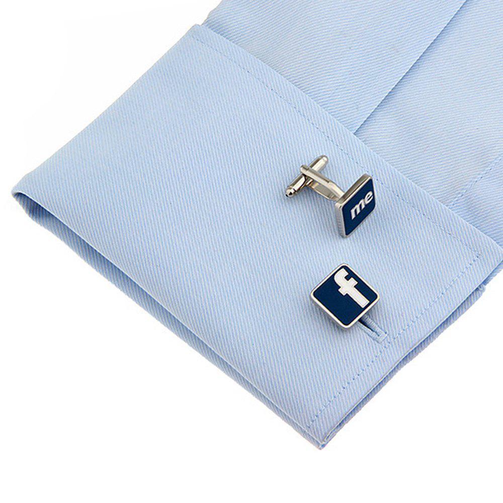 Men's F English Letter Stylish Cuff Boutons Accessoire - Bleu