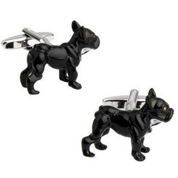 Men's Interesting Animal Painting Series Black Dog Cufflinks