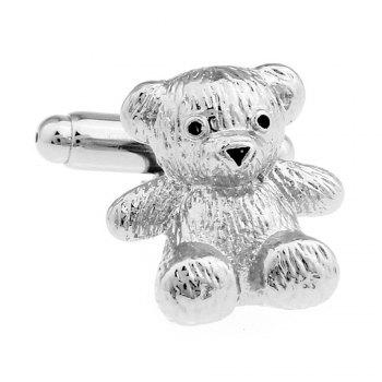 Men's Silver Bear Pattern Caving Cuff Link