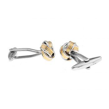 Men's Stylish Design Gold Silver Twist Cufflinks Accessory - SILVER/GOLDEN