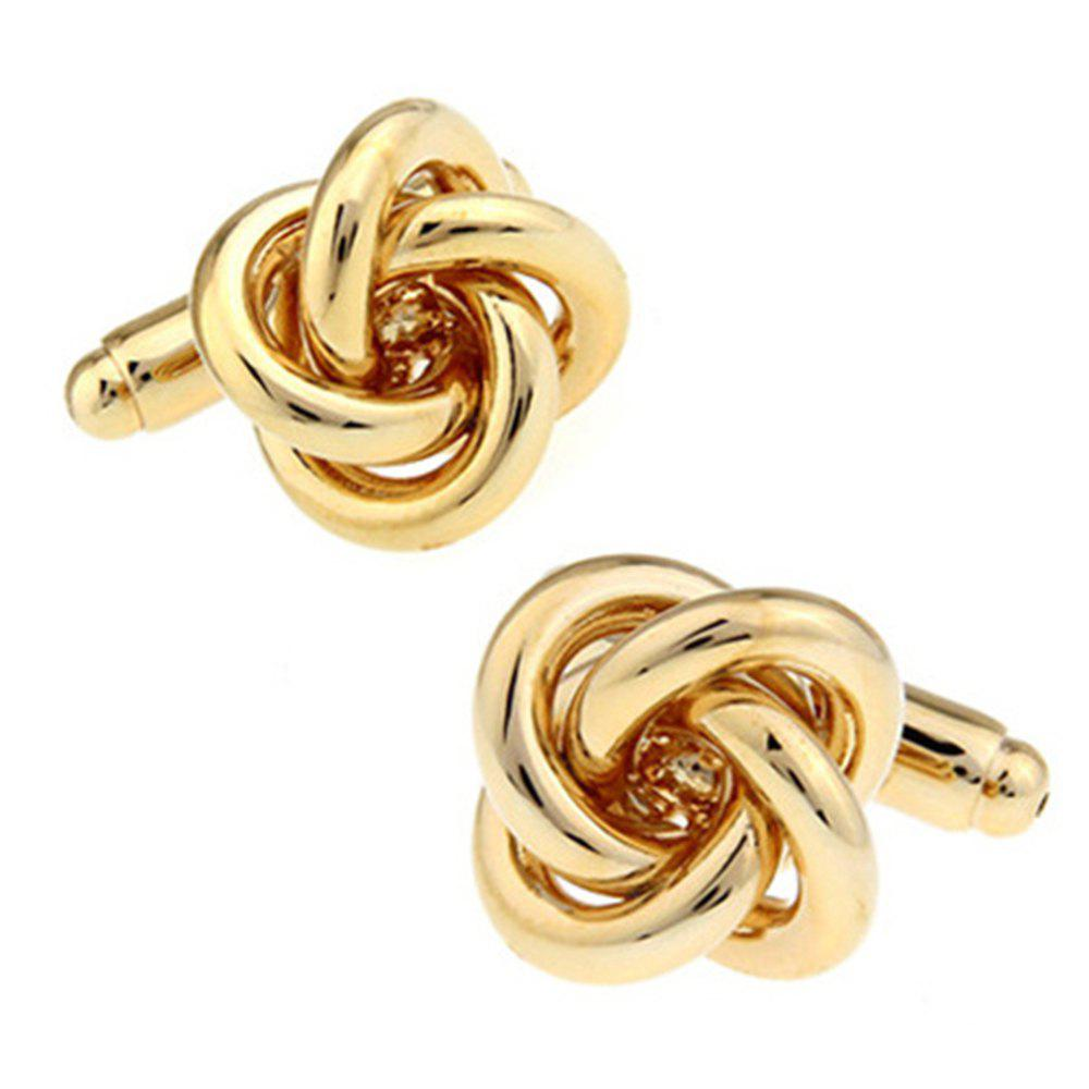 Men's Golden Spiral Hemp Design Cufflinks Accessory - GOLDEN