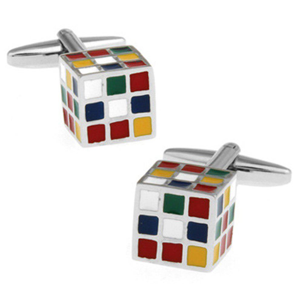 Men's Stylish Design Color Block 3D Colored Magic Cube Cufflinks - COLORFUL
