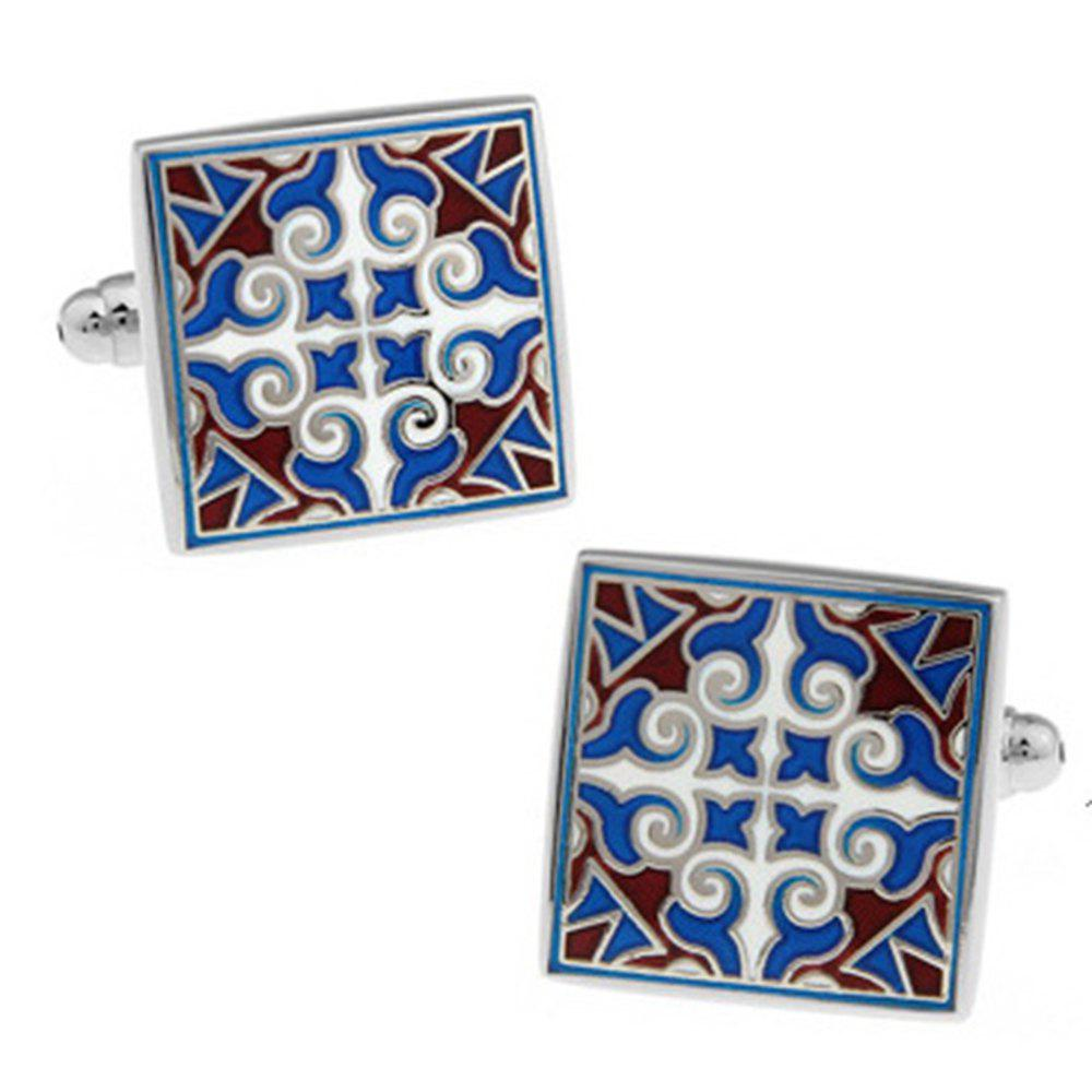Men's Chinese Totem Abstract Carved Decorative Pattern Cufflinks - BLUE / WHITE