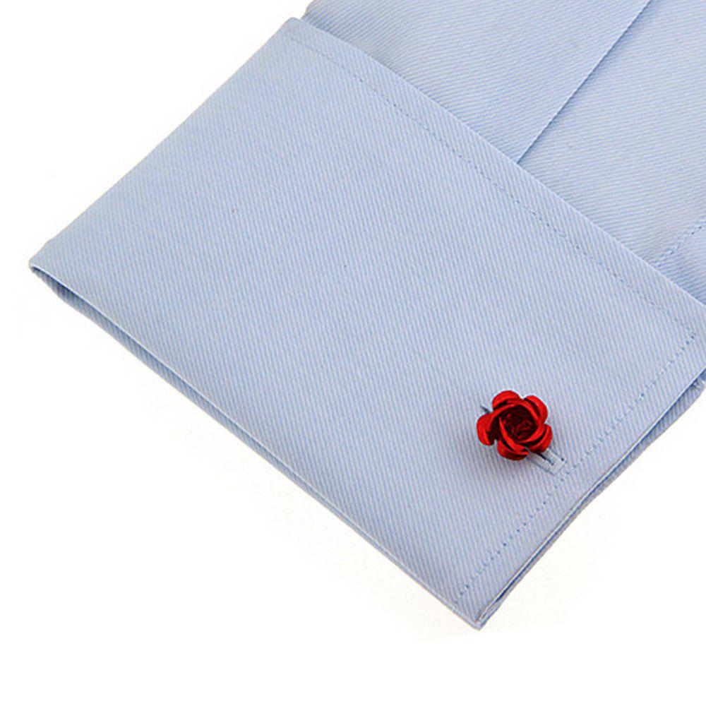 Men's Rose Pattern Chic Cuff Buttons Accessory - RED