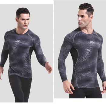 Quick-drying Gym Tights Elastic  Long-Sleeved Compressed Snakeskin-shaped T-Shirt - BLACK L