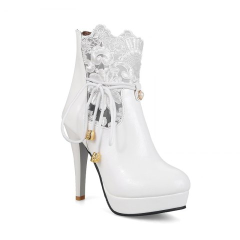 21c58d17c Women's Shoes Leatherette Winter Round Toe Booties Ankle Boots Imitation  Pearl Stitching Lace Zipper - WHITE