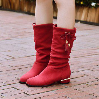 Women's Shoes Winter Fashion Slouch Round Toe Pleated Mid-Calf Boots Tassel - RED RED