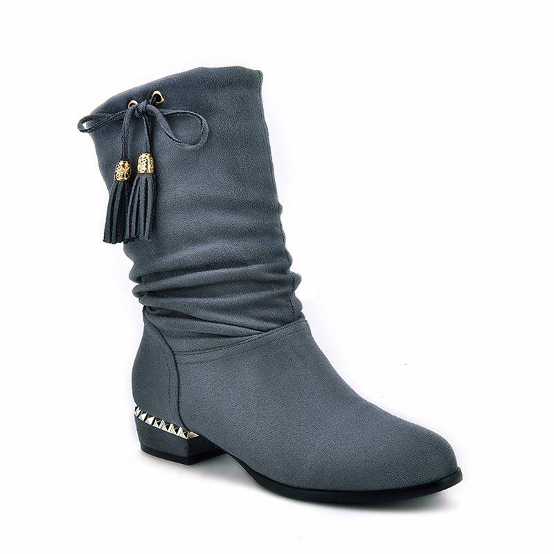 Women's Shoes Winter Fashion Slouch Round Toe Pleated Mid-Calf Boots Tassel - GRAY 34
