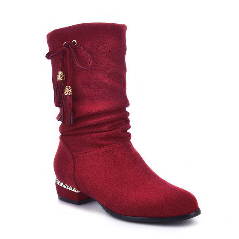 Women's Shoes Winter Fashion Slouch Round Toe Pleated Mid-Calf Boots Tassel - RED 34