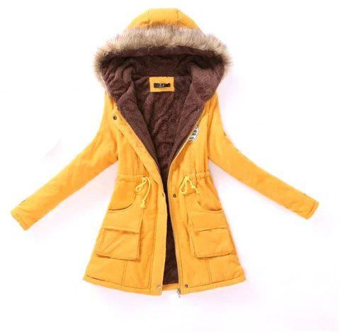 New Ladies  Long Cotton Garment with A Hat and Velvet - YELLOW XL