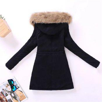 New Ladies  Long Cotton Garment with A Hat and Velvet - BLACK XL