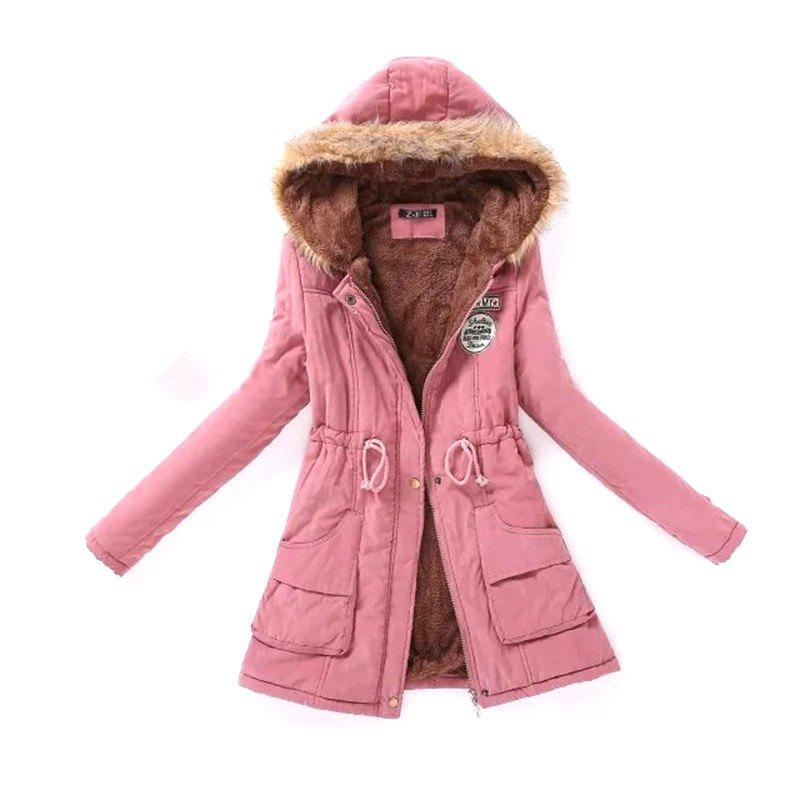 New Ladies  Long Cotton Garment with A Hat and Velvet the new children s cubs hat qiu dong with cartoon animals knitting wool cap and pile
