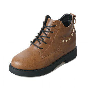 JL-8036 Round Tie All-match Rivet Flat Martin Boots - DEEP BROWN DEEP BROWN