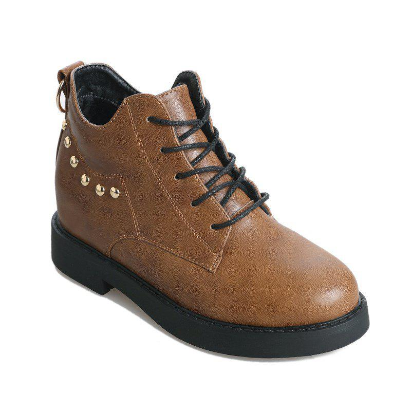 JL-8036 Round Tie All-match Rivet Flat Martin Boots - DEEP BROWN 36