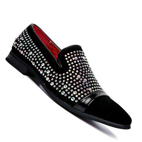 Men Casual Fashion Slip on Outdoor Inside Business Rivet Black Loafers - BLACK 42