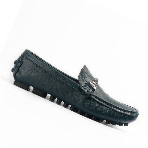 Plus Size Business Men Casual Loafers Soft Casual Driving Flats Peas Shoes - BLUE 39