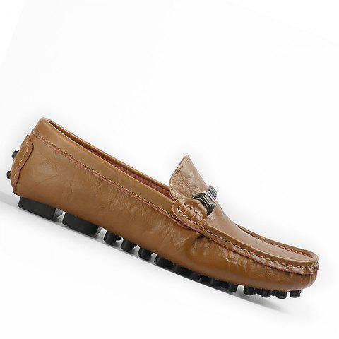 Plus Size Business Men Casual Loafers Soft Casual Driving Flats Peas Shoes - KHAKI 45