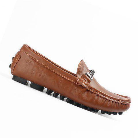 Plus Size Business Men Casual Loafers Soft Casual Driving Flats Peas Shoes - BROWN 43