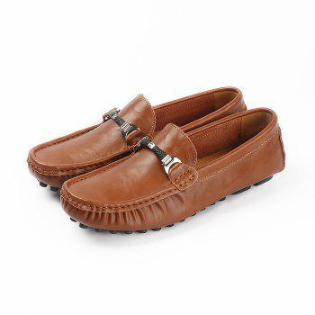 Plus Size Business Men Casual Loafers Soft Casual Driving Flats Peas Shoes - BROWN BROWN