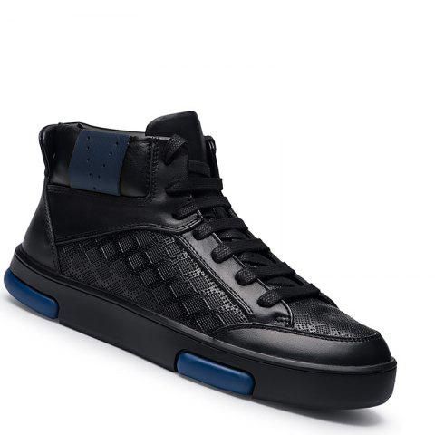 Couple Boots Genuine Leather Men Casual Shoes Flats Male Fashion High Top Sneakers - BLACK 36
