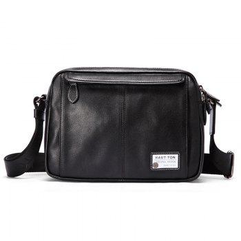 HAUT TON Mens Genuine Leather Shoulder Messenger Bag - Black