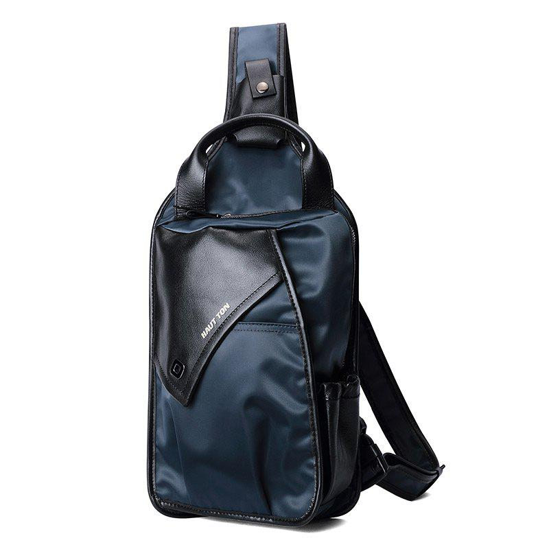 HAUT TON Outdoor Sports Casual Canvas Unbalance Backpack Crossbody Shoulder Chest Bag for Men - BLUE/BLACK 30X21X10CM
