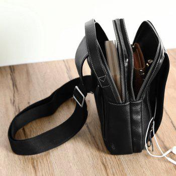 HAUT TON Men's Genuine Leather Sling Chest Bag Shoulder Crossbody Bags Backpack for Men - BLACK 25X 17X7.5CM