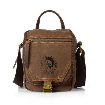 AUGUR Men Shoulder Bag Mini Canvas Messenger Male Handbags Multifunction Travel Crossbody Bags -  COFFEE