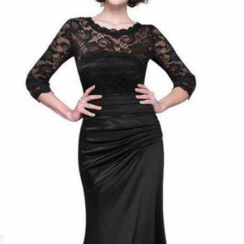 Vintage Lace Sleeve Dress - BLACK XL